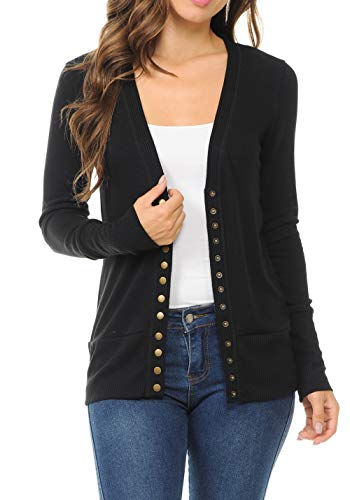 ClothingAve. Womens Soft Lightweight Snap Button Cardigan with Ribbed Cuffs and Hem-in Over 20 Colors Small to 3XL Black Medium