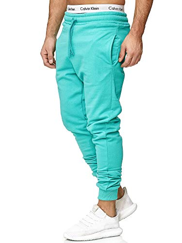 OneRedox Herren | Jogginghose | Trainingshose | Sport Fitness | Gym | Training | Slim Fit | Sweatpants Streifen | Jogging-Hose | Stripe Pants | Modell 5000C Mint Türkis XL