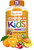Vitamin D3 1000IU Gummy Vitamins for Kids (90 Day Supply) by Feel Great Vitamin Co | 90 Gummies | Delicious Plant Based Gummies | Supports Healthy Bones, Teeth, Mood, Immune System*