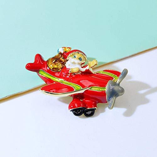 Broches de Pin de perro de avión de aire de Papá Noel esmaltado de Color rojo para mujer, bonito bolso divertido, badages de alta calidad