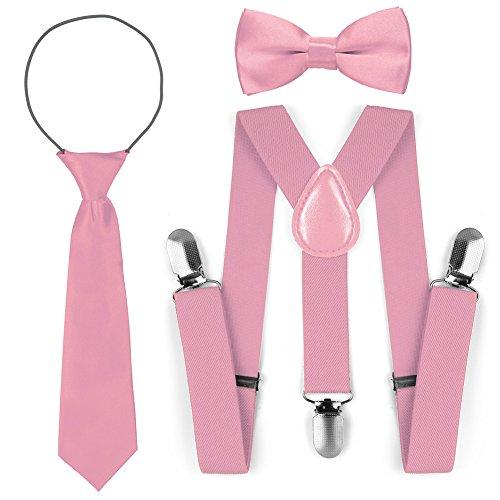 Kinder Kleinkind verstellbare elastische Mode Hosenträger Fliege Krawatte Set (Rosa)