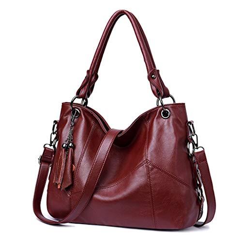 YOFO Les sacs à main des femmes de la mode en Gland PU en cuir souple sac d'affaires Messenger sac à main sac à main (vin rouge)