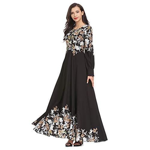 Amphia - Muslim Loser Normallack-Kleidungs-Kleid der Frauen Abaya islamischer arabischer Kaftan - Bedrucktes schlankes Kleid Temperament schlanker moslemischer Kleidrock Langer Rock weiblich
