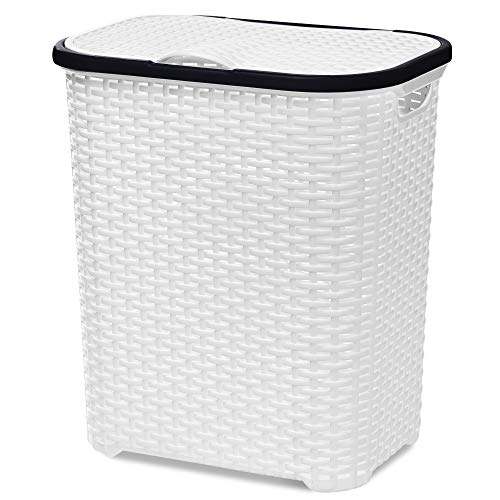 EVELYN LIVING 65 Litre Plastic Laundry Basket Hamper Storage Rattan Look with Lid & Insert Handles (White & Black)