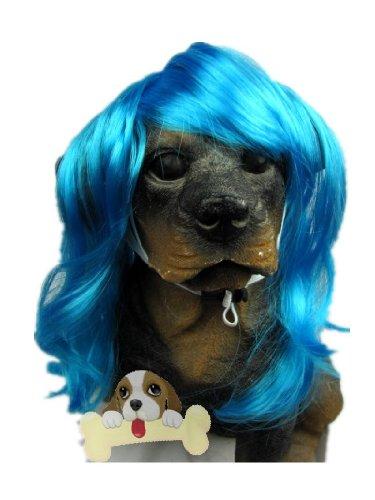 Tanya Pet Supplies -Dog Costumes Blue Wavy Syethetic Hair Pet Dog Cat Wigs-Gift