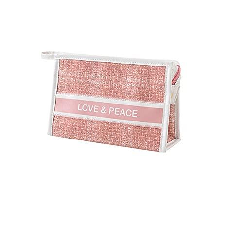Estuche de maquillaje de gran capacidad portátil bolsa de cosméticos titular de cepillo bolsa de embrague, Pink, 24*8*15cm,