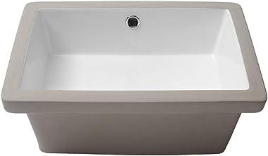 Bathroom Sink Undermount - Kichae 18 Inch Vanity Sink Modern White Rectangular Undermount Sink Porcelain Ceramic Lavatory Van