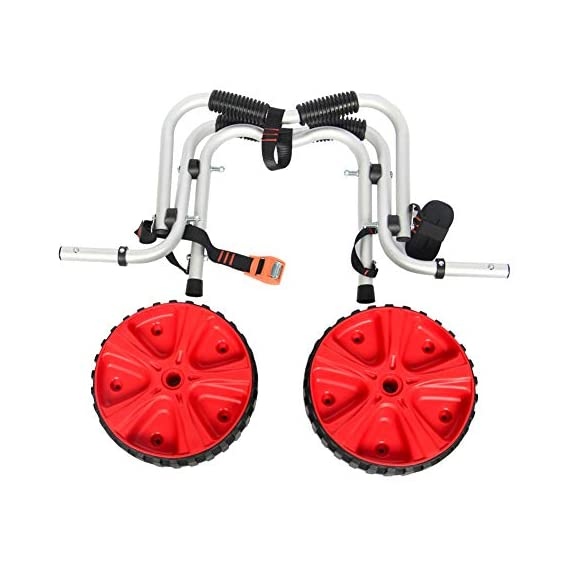 """Onefeng Sports 175LBS Kayak Cart Boat Carrier with Adjustable Width Axle for Carring Kayaks Canoes Spring Button Design… 4 ☀【ADJUSTABLE POLES】The distance between 2 poles is adjustable from 24-40cm(9.4""""-15.7""""). ☀【NEW TIRES】Plastic tires with rubber sheaths,won't slip.Tires are environment-friendly,odourless smelless.Size:25×7cm(9.8""""×2.7"""") ☀【PADDED DESIGN & MATERIAL】Black cover to protect your kayak or canoe.Made of Stainless Steel.Capacity:175 lbs.as been inserted into the trolley tube so don't worry to loss.We have fixed the strap(10ft) on the rubber cones,easy to fasten the kayak."""