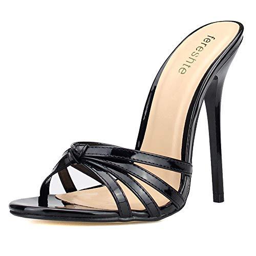 Women's Men's Slide Mules Cross Strap Stiletto High Heels Sandals Black EU 42 - US Size 10 Women/8.5 Men