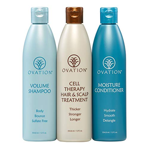 Ovation Balance Cell Therapy System - Get Stronger, Fuller, and Healthier looking hair with Natural Ingredients. Includes Volume Shampoo, Moisture Conditioner, and Cleanser. Made in the USA