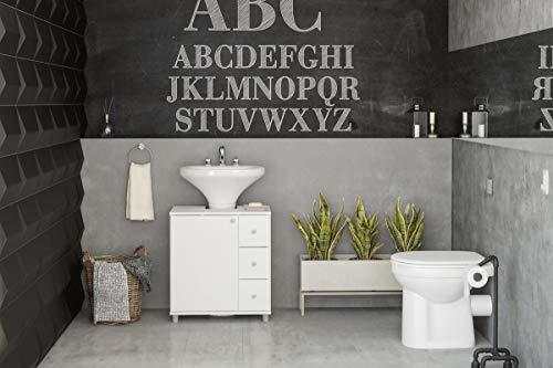 Balcão Para Banheiro Politorno 1 Porta 3 Gavetas Branco
