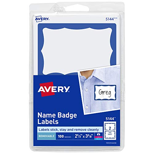 Avery Name Tag Stickers, Blue Border, Print or Write, 100 Removable Name Badges, 2-1/3' x 3-3/8' (5144)