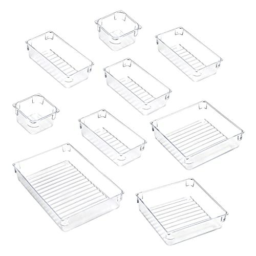 Anyingkai 9pcs Organizadores Transparentes para Cajones,Cajones Plastico Apilables,Cajas Organizadoras de Plastico,Organizadores para Cajones de Baño,Bandejas Organizadoras Cajones