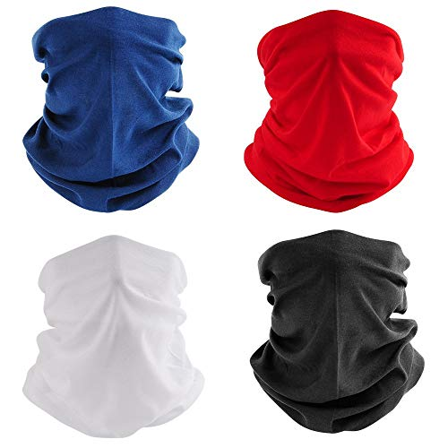 4 Pcs Outdoor Seamless Face Mask Tube Bandana, Homochromy for Dust, Fishing, Yoga, Motorcycling, Festivals, Sports, White, Averange
