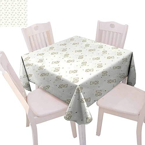 Mantel cuadrado beige para casa de osito de peluche monocromático ilustración para niños, estrellas y puntos, fondo de medio tono, actividades de catering, 54 x 54 pulgadas, color marrón
