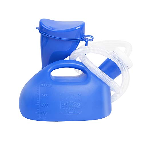 Portable Urinal with Screw Top for Women & Men, OOCOME 68 OZ Toilet Camping Mobile Travel Non Spill Urinal Driving Pee Bottle for Hospital Camping Car Travel(Blue)
