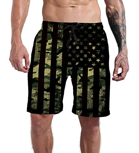 Goodstoworld Mens Swim Trunks American Flag Board Shorts Camouflage Beach Funny Army Green Pant Swimwear Bathing Suits for Holiday,Patriotic