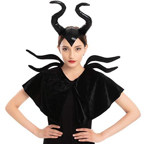 Black Queen Accessories Set con diadema, chal, fiesta de disfraces de Halloween