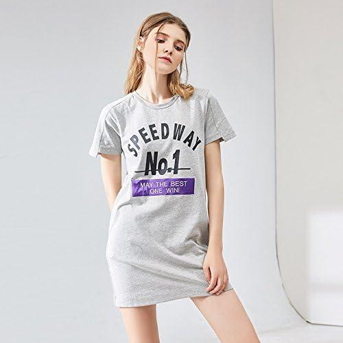YFF T-Shirt imprimé Floral Robe Vous détendre,lache,gris M