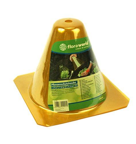 Pflanzenschutzhaube 12er Set aus Kunststoff gelb-transparent, Schutz vor Schnecken, Wettereinflüssen, Vogel-und Wildfraß Pflanzenhut, Pflanzenabdeckung, Anzucht, Pflanzenanbau L 27 x B 27 x H 21,5 cm