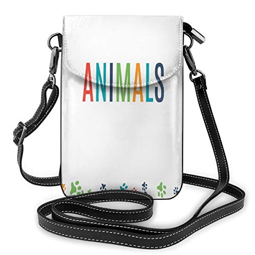 Women Small Cell Phone Purse Crossbody,Animal Footprint Ornament Border Cute Paw Trace Cats And Dogs Friendly House Pets