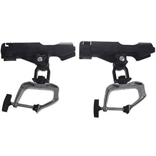 Rfvtgb Juego de 2 soportes para cañas de pescar con abrazadera de 360 grados ajustable