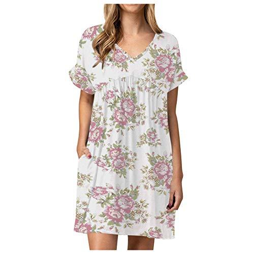 Xmiral Damen Kleid Sommer Beiläufig Tunika Plissee Flowy Swing Kurzarm V-Ausschnitt Minikleid(b-Weiß,XXL)