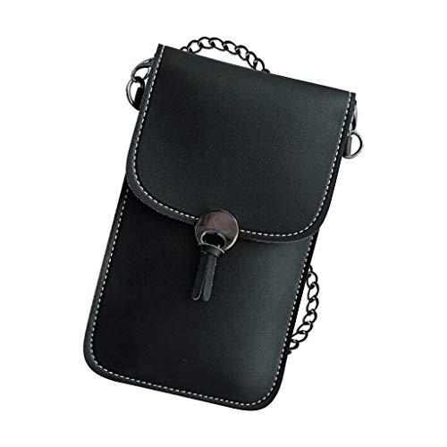 Touchscreen-Handytasche,Chain Phone Bag Klare Transparente Fenster BerüHrt Bildschirm Crossbody Mobile Phone Bag,Frauentasche (Schwarz)