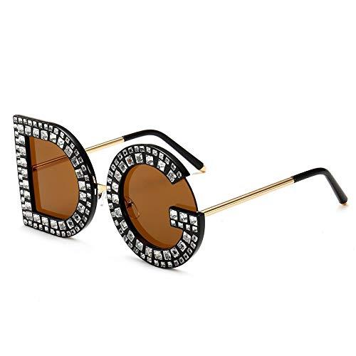 wangmingzhuanmai Occhiali da sole con borchie diamantate occhiali da vista di grande nome street shooting big box UV400, tè C3, nuovo