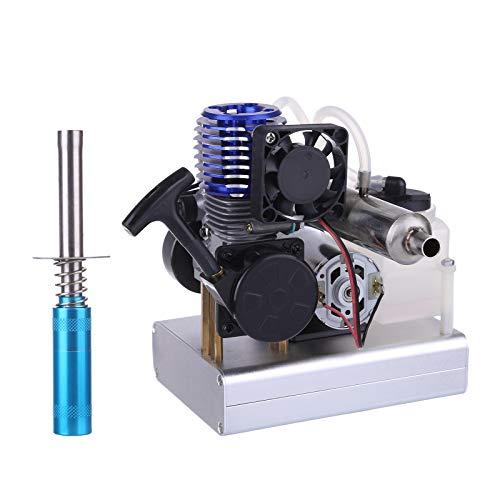DAN DISCOUNTS Motor Bausatz, Level 15 12V+5VUSB Zweitaktmotor Bausatz Methanol Engine Kit Niederspannung Motor Modell Set - Elektrischer Start