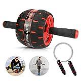 Ertisa Roue Abdominale AB Wheel Roller, 2 en 1 AB Roller + Corde à Sauter pour Le Fitness et l'entraînement des abdominaux/Muscles de l'épaule/musles du Bras/Muscles des Cuisses