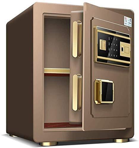 Cajas Fuertes para el hogar, Money Safe Lock Boes, Bo electrónico Digital Bo, 383345 cm Huella Dactilar biométrica Home Steel Safe, LED Pantalla, para Office Hotel (Color: Brown) nyfcck