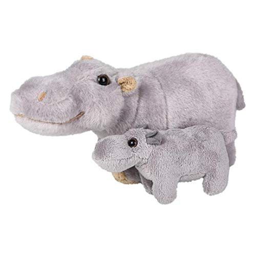 Forest & Twelfth Mom and Baby Mini Hippo, Stuffed Animals for Boys and Girls, Safari Hippopotamus Baby Shower Decoration, Nursery Décor, Zoo Animal for Toddlers, Soft Stuffed Hippo, Plush Toy, (Hippo)
