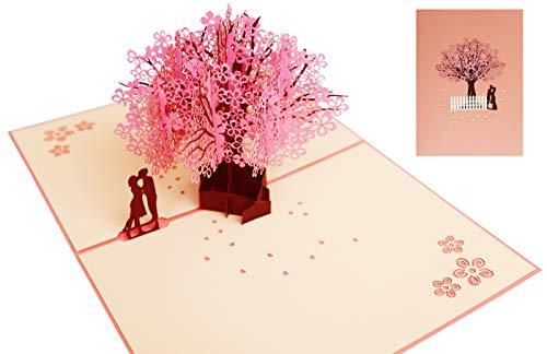 Tarjeta Amor Pareja 3D Pop Up, Rosa Tarjeta de Felicitación Romántica Cerezo para Amantes, Cumpleaños, Boda e Invitación, Felicitación, Navidad, Aniversario, Año Nuevo, Fiesta, San Valentín