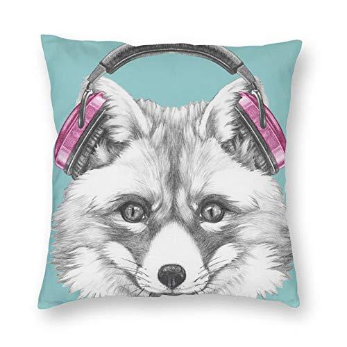 Nixboser Funda de almohada de poliéster con diseño de zorro divertido con auriculares, funda de almohada para sofá, sala de estar, cama, coche, tamaño 30,5 x 30,5 cm