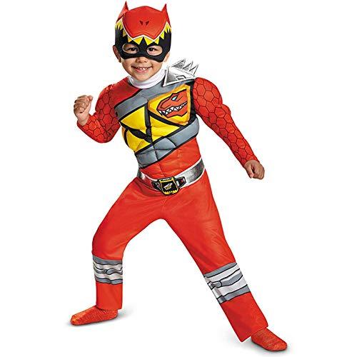 NHP Dinosaurier-Team Starke drachenrote Kinder-Superhelden-Rollenspiele, Halloween-Spielparty-Kostüm-Muskelanzug(Size:XS)