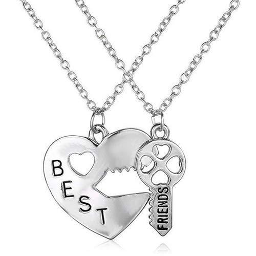 N-K PULABO 2 unids/set amor corazón clave colgante BFF mejor amigo carta tallada collar regalo servicio duradero moda