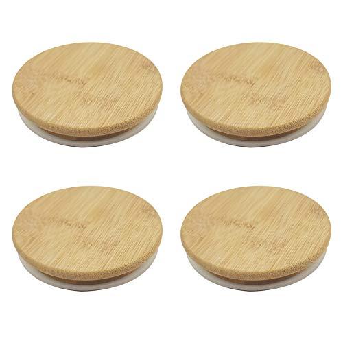 Camisin Tapas reutilizables de bambú herméticas, tapas de almacenamiento de alimentos, tapas con sello de silicona para tarros Mason enlatados botella de beber
