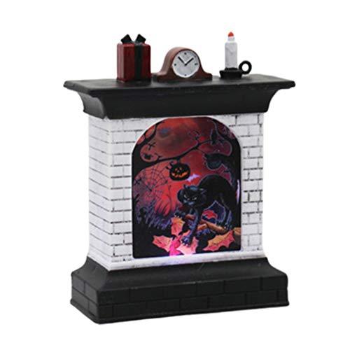 GARNECK Halloween Kamin Form Dekoration Lampe kreative Katze Muster Nachtlicht Desktop Dekoration für Bar Spukhaus Geheimraum