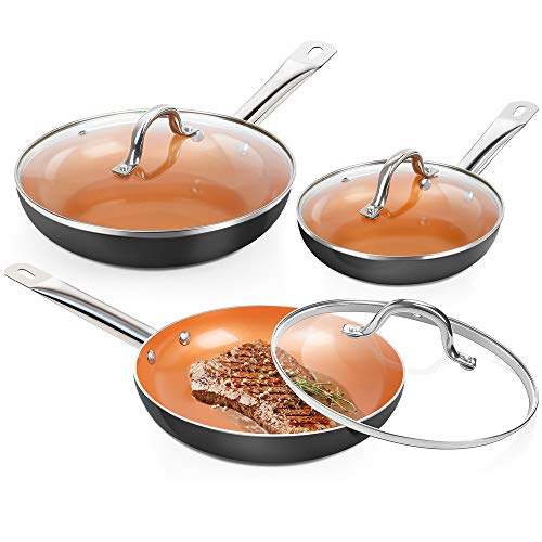 SHINEURI 6 Pieces Nonstick Copper Pan Set - 8 / 9.5 /11 inch, Frying Pan Set with Lid, Fry Pan Set with Induction Base & Stainless Steel Handle, Suitable for Cooking Saute Vegetables, Steaks(Dark)