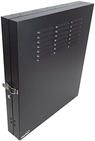 NavePoint 2U Low Profile Vertical Wall Mount Enclosure 36 Inch Server Depth Patch Panel Cabinet Black