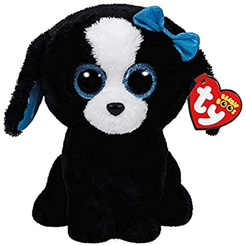 Carletto Ty 37076 Ty 37076-Tracey, Hund mit Glitzeraugen, Beanie Boos, schwarz, 24 cm