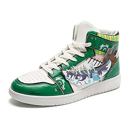 NNBBAA Anime One Piece Zapatillas de Deporte para Hombre Roronoa Zoro Casual Hi-Top Zapatillas de Deporte con Cordones Zapatillas de Baloncesto de Moda Zapatos Casuales para Caminar Tamaño 39-44