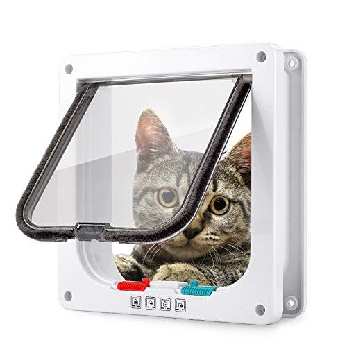 Smilelove Katzenklappe Hundeklappe 4 Wege Magnet-Verschluss für Katzen, große Hunde 23,5 * 25 * 5,4cm Hundetür Katzentür Haustierklappe, Installieren Leicht mit Teleskoprahmen (L 23,5 * 25 * 5,5cm)
