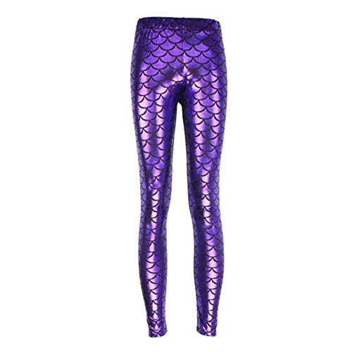 SELLM Mermaid Shiny Dotted Dragon Fish Scale Leggings Fashion Open Bright Color Pencil Pants Mermaid Scales Fish Dragon leggings,Purple,One Size