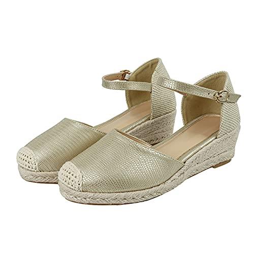 Zapatos de tacón de cuña boca baja transpirable mujeres ocio hebilla de tobillo primavera verano patrón de serpiente sandalia gruesa punta estrecha