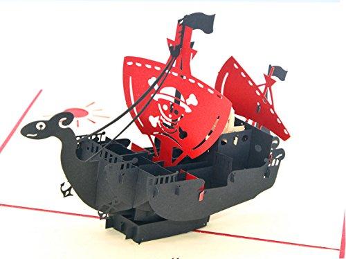 Medigy Carte d'Anniversaire Faite à Main 3D Pop Up Kirigami Creux Bateau pirate Pliable Carte Postale de Voeux pour Anniversaire Mariage Saint Valentin avec Enveloppe