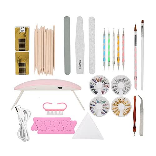 Juego de herramientas para decoración de uñas DIY, tenedor para piel muerta, puntero para uñas, lima, cepillo para polvo, kit de manicura para salón de uñas en casa(Set)