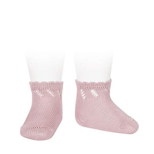 Cóndor Calcetines cortos de perlé para bebé con calados Rosa palo, Talla 2 (18-24 meses)