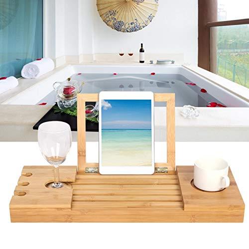 bizofft Escritorio de bambú para computadora portátil, Escritorio de bañera telescópico Ajustable de Longitud Resistente al Calor, sin aldehído Extensible para su teléfono, computadora portátil,